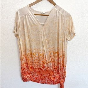 Cato Ombré Cream And Orange Knot Side Top